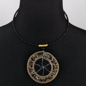Handmade beaded pendant necklace
